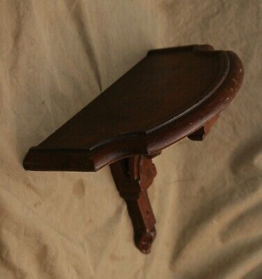Antique Mission, Arts & Crafts Mantle Shelf Walnut Wood Carved Acanthus Finial