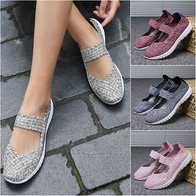 6 Colors Lady Casual Walking Shoes Women Hand-knitted Mesh Fabric Flat Shoes