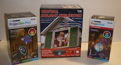 MR Christmas Virtual Holiday Projector & Projection Plus Light Show Lot of 3
