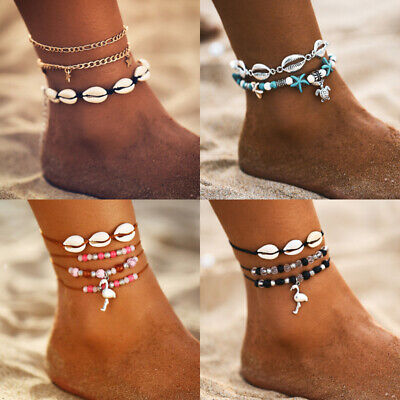 97Styles Gold Silver Anklet Ankle Bracelet Foot Chain Heart Beads Pineapple Rope