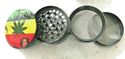 4 Part 63mm Large Leaf Rasta Herb Grinder Spice Tobacco/Weed Zinc Alloy Crusher