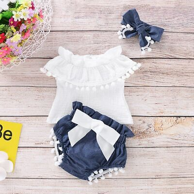 3PC Newborn Baby Girls Off Shoulder Ruffle Tops+Shorts Pant Outfits Set Clothes
