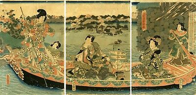 "KUNISADA Japanese woodblock print: ""PRINCE GENJI ENJOYING A PLEASURE BOAT RIDE"""