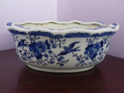 Fab Vintage Chinese Blue & White Oval Birds & Flowers Design Planter 20 Cms Long