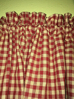 "Handmade Country Primitive Barn Red Check Homespun Valance 58"" x 15"""