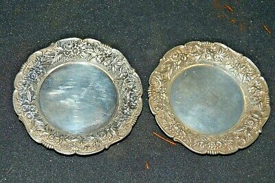 2 S Kirk and Son Small (3.25 in) Sterling Silver Repousse trays, plates