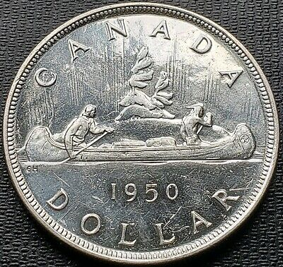 1950 SWL Canada Silver $1 Dollar Coin - Short Water Lines, Brilliant UNC MS