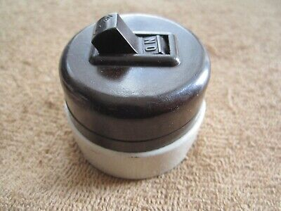 Vintage Leviton Brown Bakelite & Porcelain Surface Mount Round Light Switch