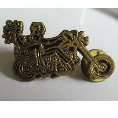 Vintage Motorcycle Chopper Pin Easy Rider Lapel Pin & Chick on Bike Signed MON ?