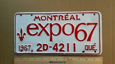 License Plate, Canada, Quebec, 1967, World's Fair, expo 67, St8 Sponsored Front