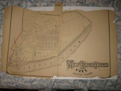 Antique 1876 New Brunswick 6Th Ward Middlesex County New Jersey Handcolor Edmap