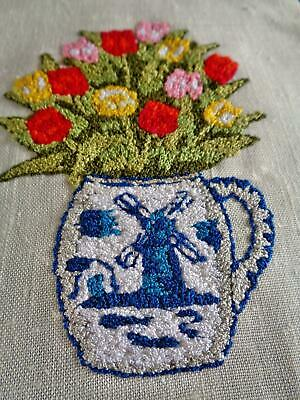 An Exquisite Small Stumpwork Hand Embroidered Tulip Panel With Windmill Jug