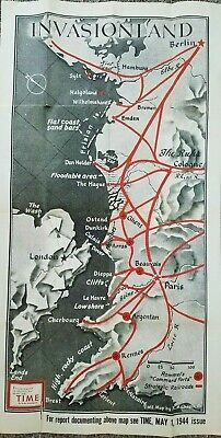 Invasionland Europe May 1944 Time Magazine Map oversize World War II Pre D-Day