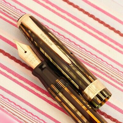 Vintage PARKER STRIPED DUOFOLD Green Gold Amber Stripe Jeweler-Band Fountain Pen