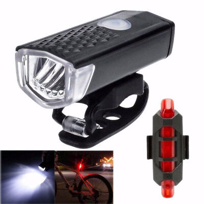 Bicycle Bike Front Rear Lights Set USB LED Rechargeable Mountain Cycle Headlight