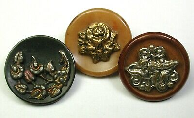 BB Antique Vegetable Ivory Button Lot of 3 w/Brass Floral OME  1890s 11/16""
