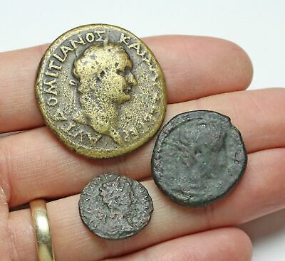 ROMAN PROVINCIAL. Lot of 3 bronzes. Includes Augustus, Domitian, and Commodus.