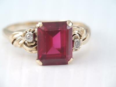 ANTIQUE  Art Deco ORNATE SOLID 10K GOLD RUBY & DIAMOND RING sz 7 3/4