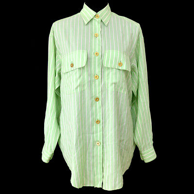 Authentic CHANEL Stripe Long Sleeve Shirts Light Green White Vintage AK33564