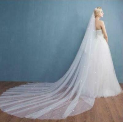 2 Layer Crystal Veil Wedding Bridal Veils Cathedral 3M Vail With Comb