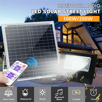100W 200W Solar LED Bluetooth Flood Light Garden Outdoor Security Wall Lamp