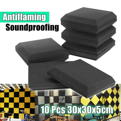 10 Pack Acoustic Panels Studio Soundproofing Foam Wedge Tiles 12'' X 12'' X 2''