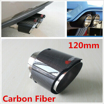 120mm Short Type Carbon Fiber Glossy Auto Exhaust Tips Muffler Pipe Tail Throat