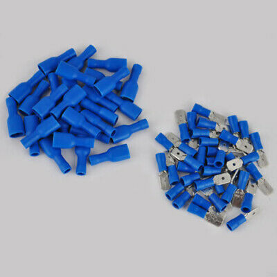 100 Male Female 6.8 Mm Insulated Blue Spade Connector Terminals Crimp Electrical