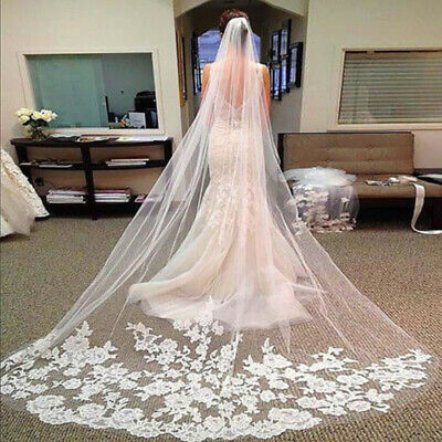NICE Lace Edge Accessories Bride Cathedral Women White/Ivory Veil Bridal 3M