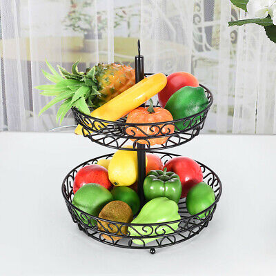 2-Tier Countertop Fruit Basket Stand Metal Wire Organizer Vegetable Caddy - USA