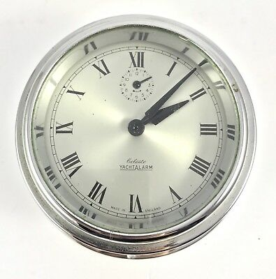 Celeste Yacht Alarm mechanical bulk head clock in chrome finish
