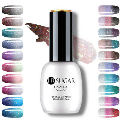 UR SUGAR 15ml Thermal Gel Polish 3-layers Glitter Soak Off UV Gel Nail Varnish
