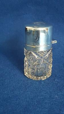 Terrific Edwardian Sterling Silver Topped Crystal Scent Bottle: H/M Chester 1911