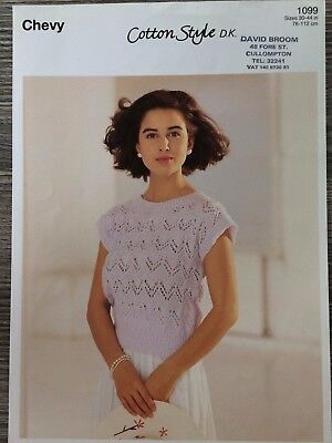 """Chevy Knitting Pattern: Ladies Lacy Top, DK, 30-44"""", 1099"""