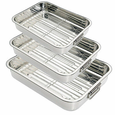 Stainless Steel Deep Oven Roasting Cooking Pan Tray Dish Wire Rack with Handles