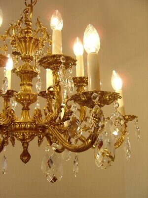 Crystal Gold Bronze Chandelier Lamp Fixtures  Old Lightings 12 Light Decor Used