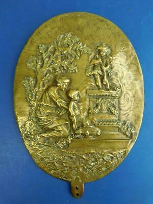 Large Brass Ornamental Plaque from Ladies Fire screen or Candle Reflector? 1800s