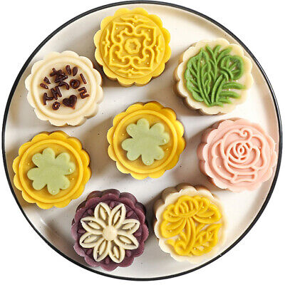 4pcs 125g 3D Flower Stamps Moon Cake Decor Mould Barrel Round Mooncake Mold