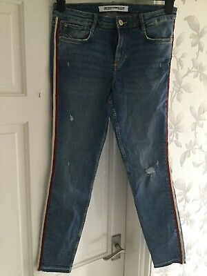 Zara Trafaluc Ladies Ripped Jeans Eur 42 Uk 8 10  Red white Stripe On Sides