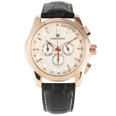 FORSINING Automatic Mechanical Watch Leather Wristwatch Date Diaplay Day Gift