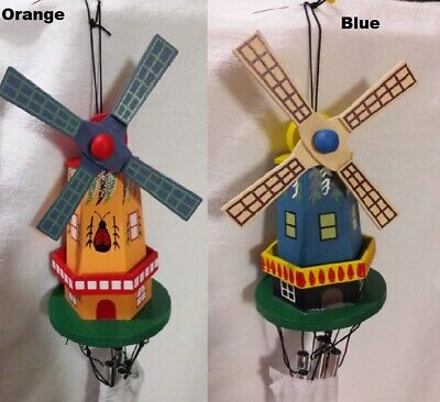 Wooden Windmill Wind Chimes Painted Multi Color Folk Garden Decor Choose One