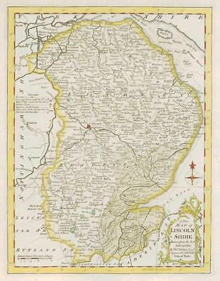 1764 Original Antique Map - LINCOLNSHIRE by Thomas KITCHIN Hand coloured (23)
