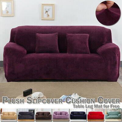 1-4 Seater Sofa Slipcover Stretch Solid Elastic Soft Plush Cover Couch Protector