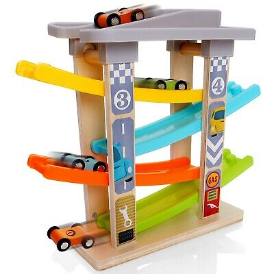 Milly & Ted Wooden Race Track Car Ramp Racer Click Clack Toy Garage