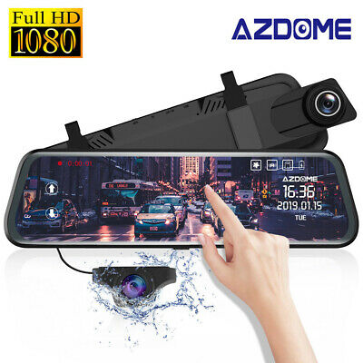 "AZDOME 10"" 1080P Dual Lens Dash Cam Mirror Touch Screen Night Vision with GPS"