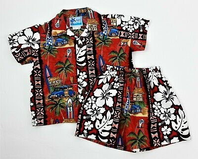 RJC Hawaiian Cabana Set Red Matching Shirt Shorts Boys Size 1T Surfboards Woodys