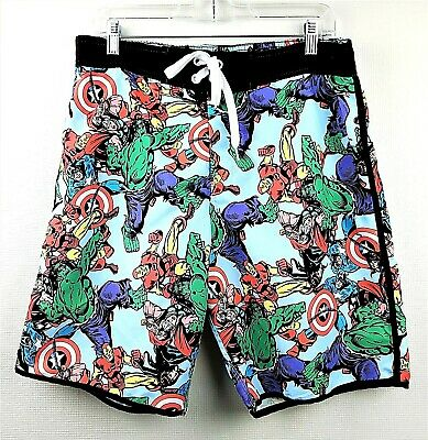 4591eed326 Marvel Comics Swim Trunks Board Shorts Mens Medium Captain America Hulk  Iron Man