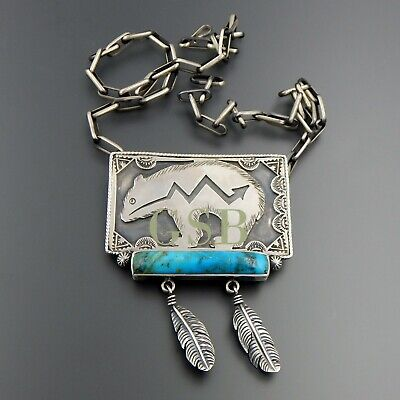 Handcrafted sterling silver turquoise bear feathers ornate brooch and pendant