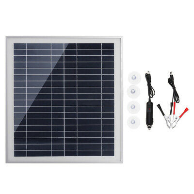 25W 12-18V Solar Panel Dual USB Power Bank Outdoor Battery Charger Mobile Tablet