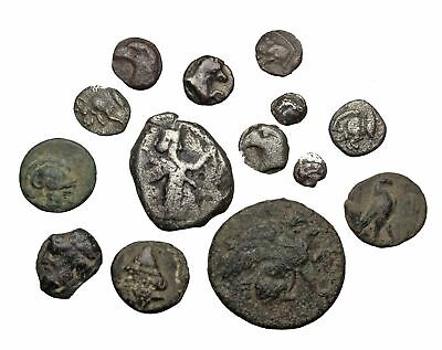 GREEK. Lot of 14 coins, Siglos, 5 bronzes, and 8 silver fractions, see list